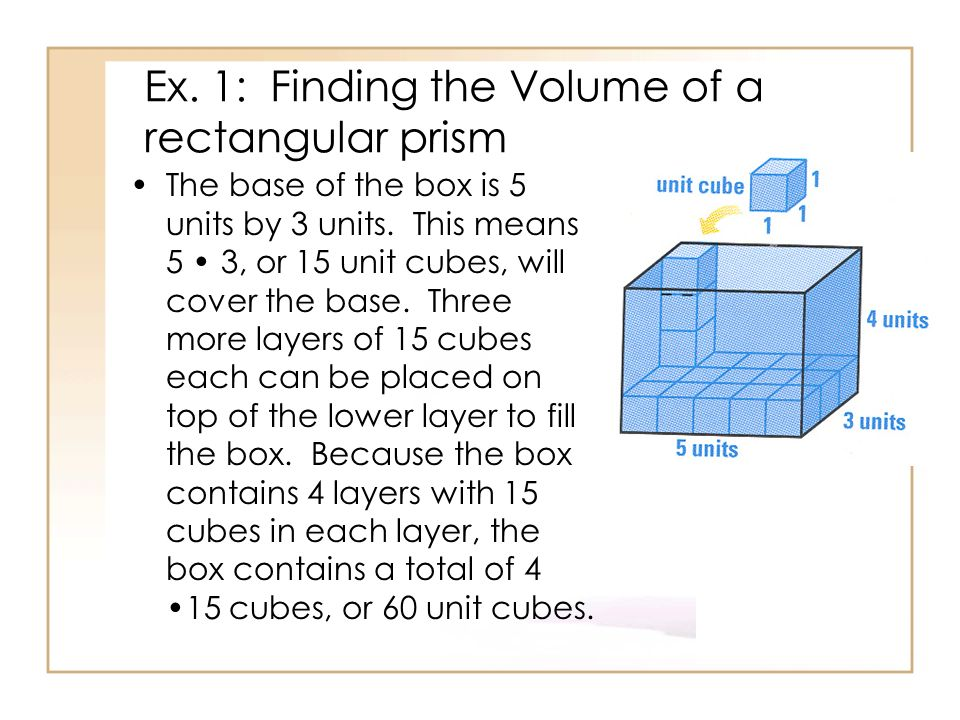 Ex. 1: Finding the Volume of a rectangular prism