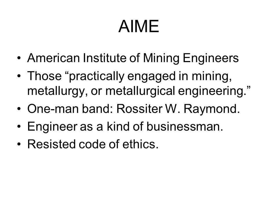 AIME American Institute of Mining Engineers
