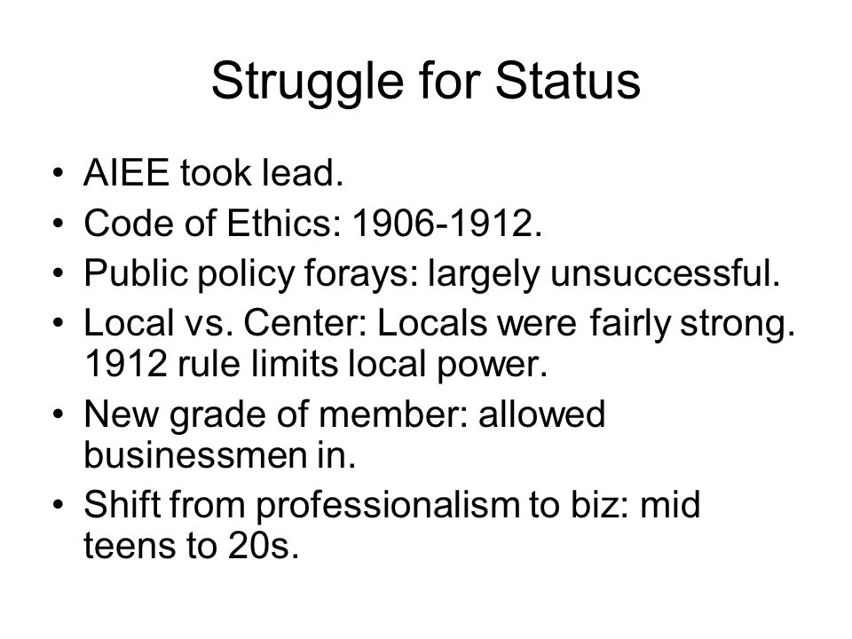 Struggle for Status AIEE took lead. Code of Ethics: 1906-1912.