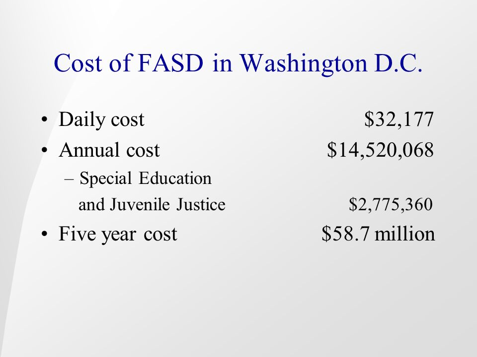 Cost of FASD in Washington D.C.