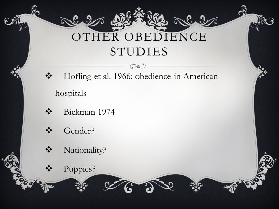 Other obedience studies