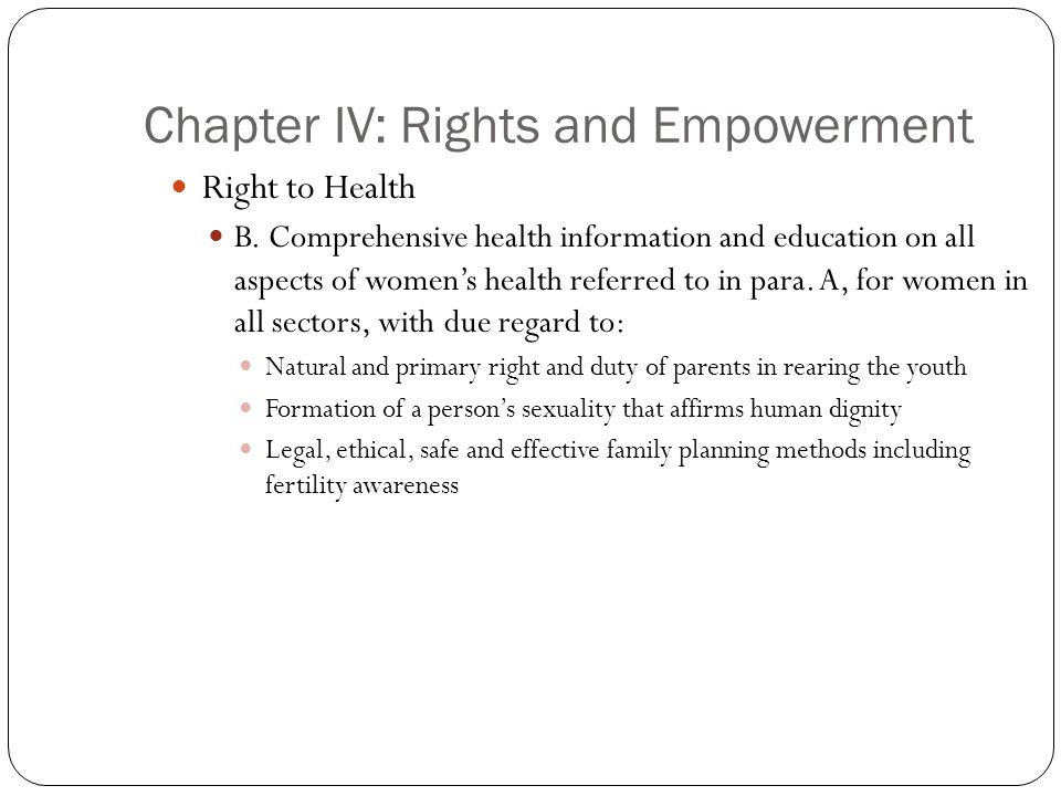 Chapter IV: Rights and Empowerment