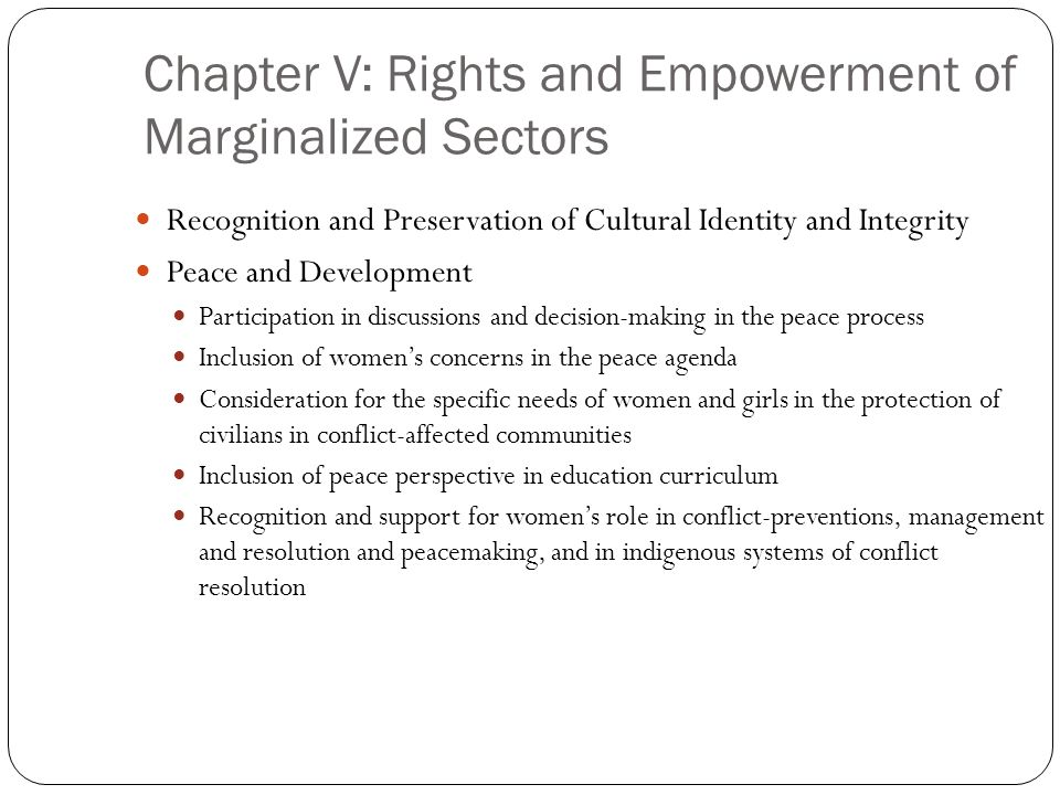 Chapter V: Rights and Empowerment of Marginalized Sectors