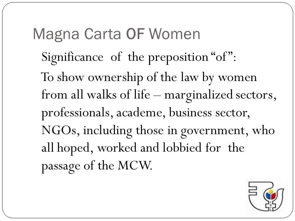 Magna Carta OF Women