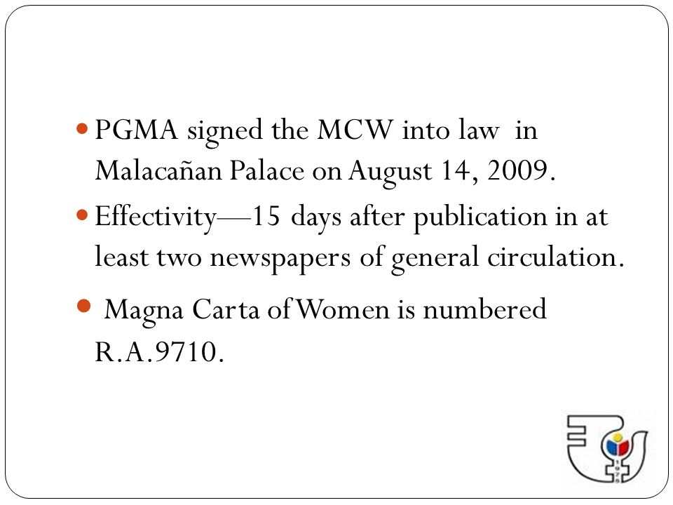 Magna Carta of Women is numbered R.A.9710.