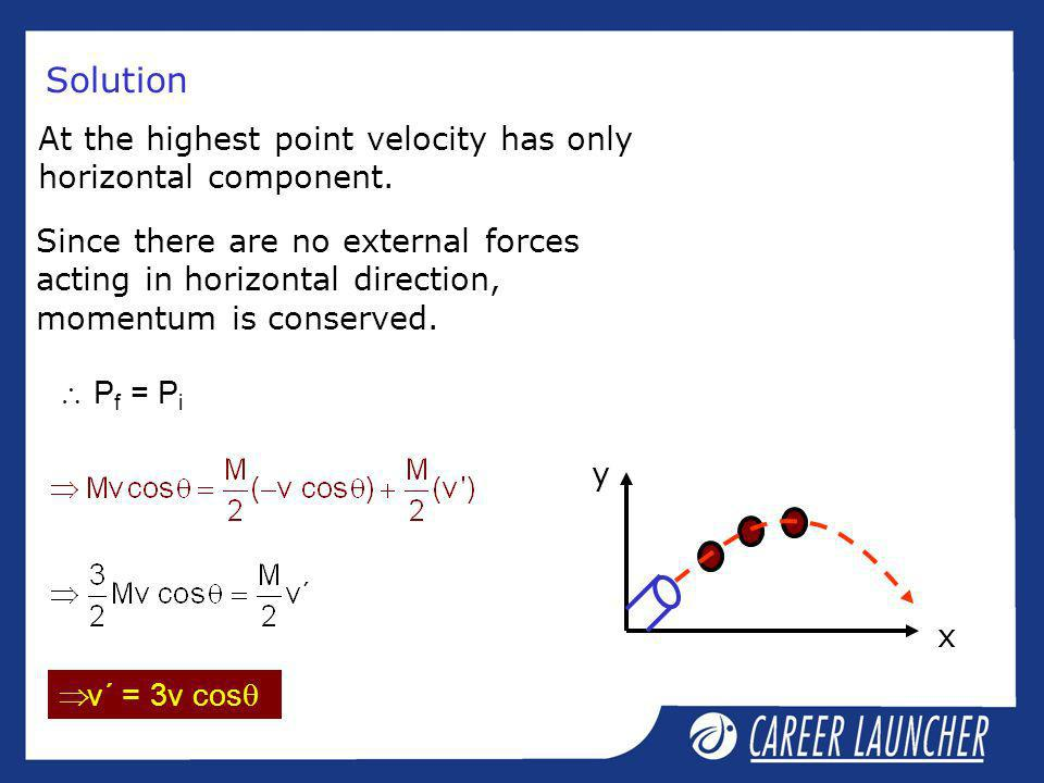 Solution At the highest point velocity has only horizontal component.