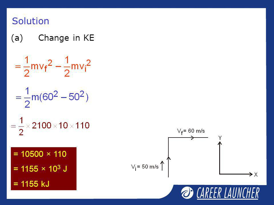 Solution (a) Change in KE = × 110 = 1155 × 103 J = 1155 kJ