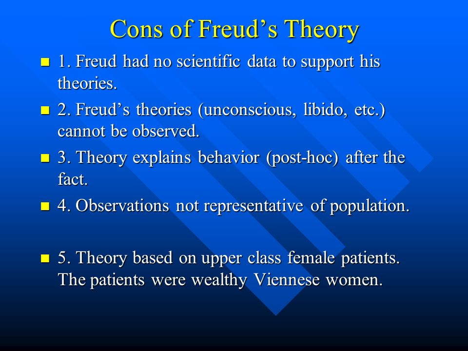 Cons of Freud's Theory 1. Freud had no scientific data to support his theories. 2. Freud's theories (unconscious, libido, etc.) cannot be observed.