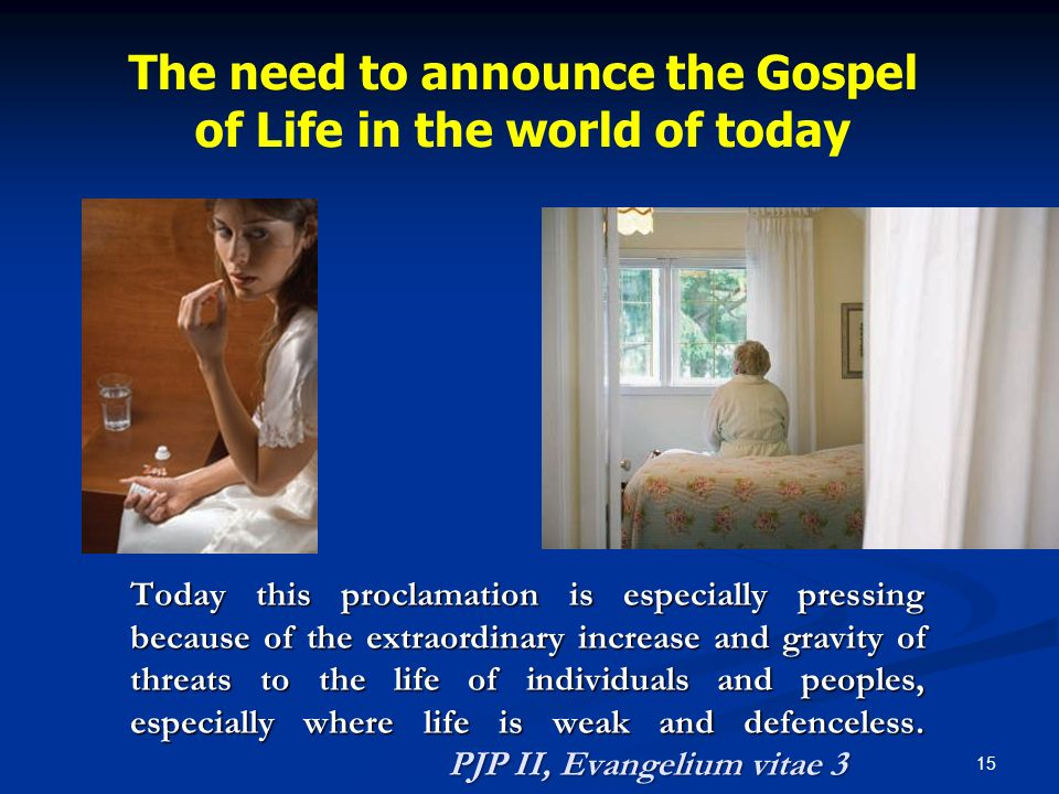 The need to announce the Gospel of Life in the world of today