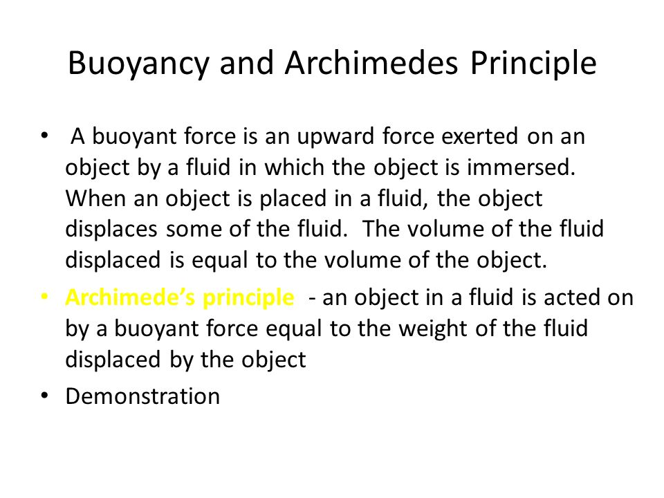 Buoyancy and Archimedes Principle
