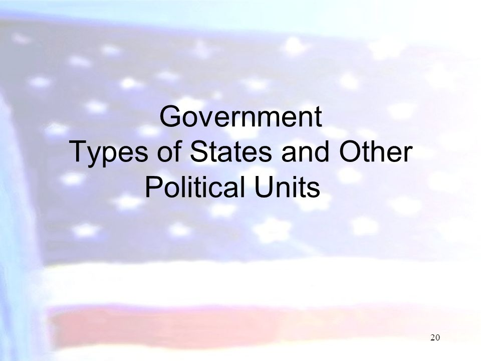 Government Types of States and Other Political Units