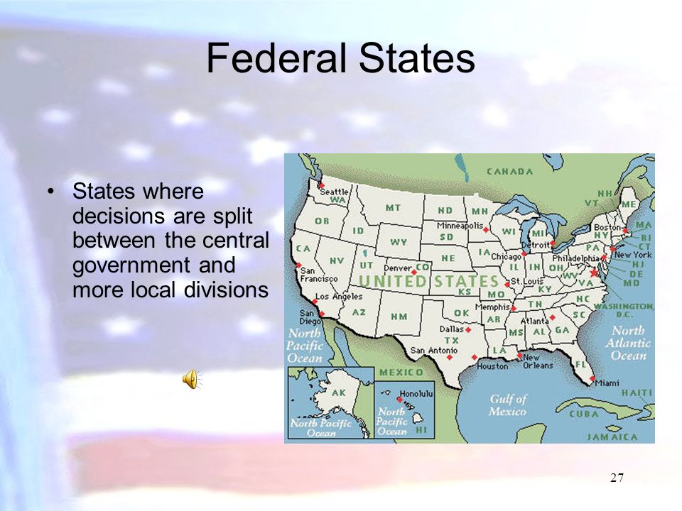 Federal States States where decisions are split between the central government and more local divisions.