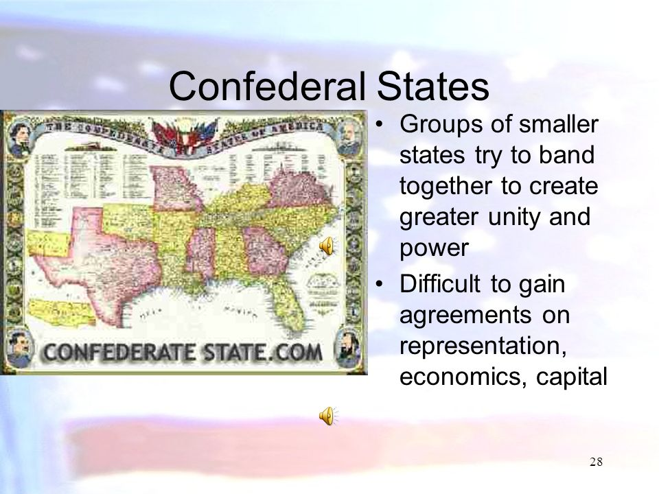 Confederal States Groups of smaller states try to band together to create greater unity and power.