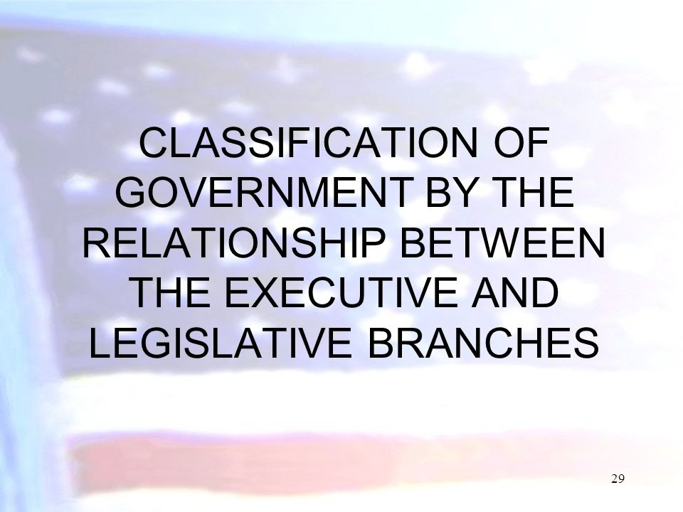 CLASSIFICATION OF GOVERNMENT BY THE RELATIONSHIP BETWEEN THE EXECUTIVE AND LEGISLATIVE BRANCHES