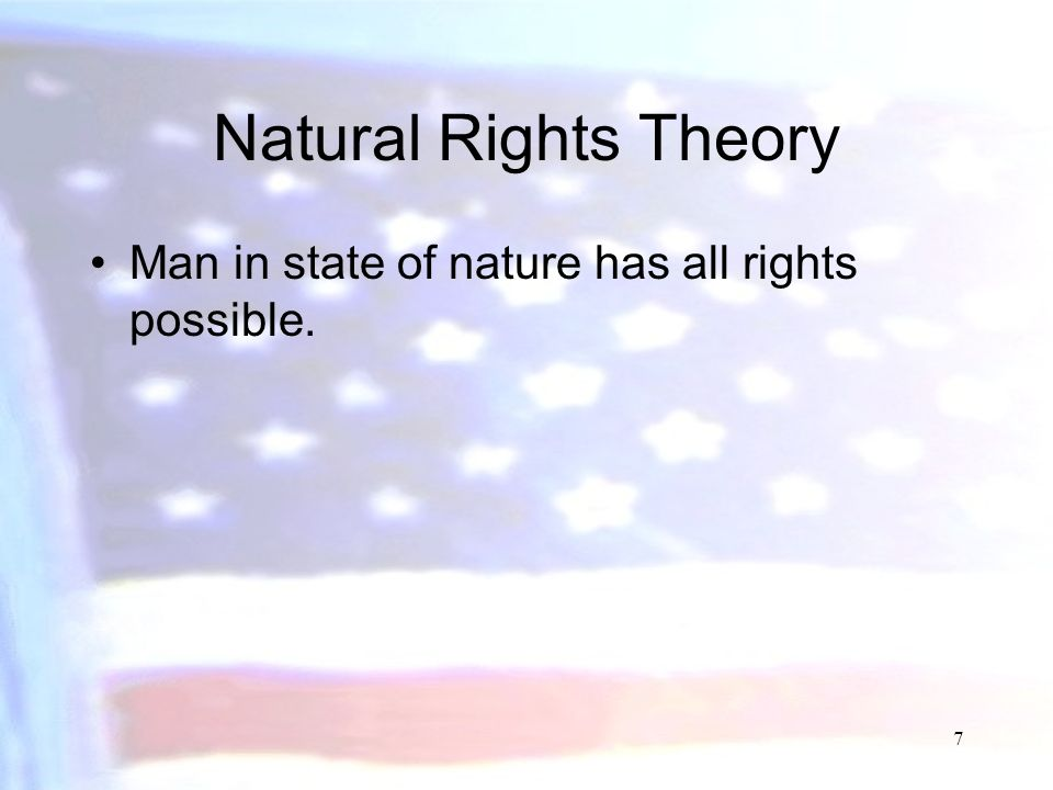 Natural Rights Theory Man in state of nature has all rights possible.