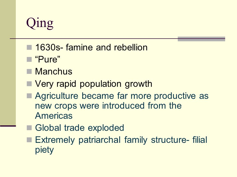 Qing 1630s- famine and rebellion Pure Manchus