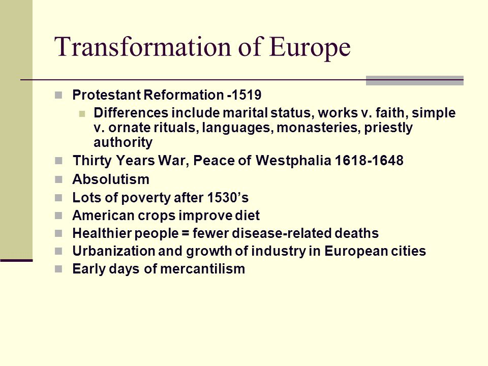 Transformation of Europe