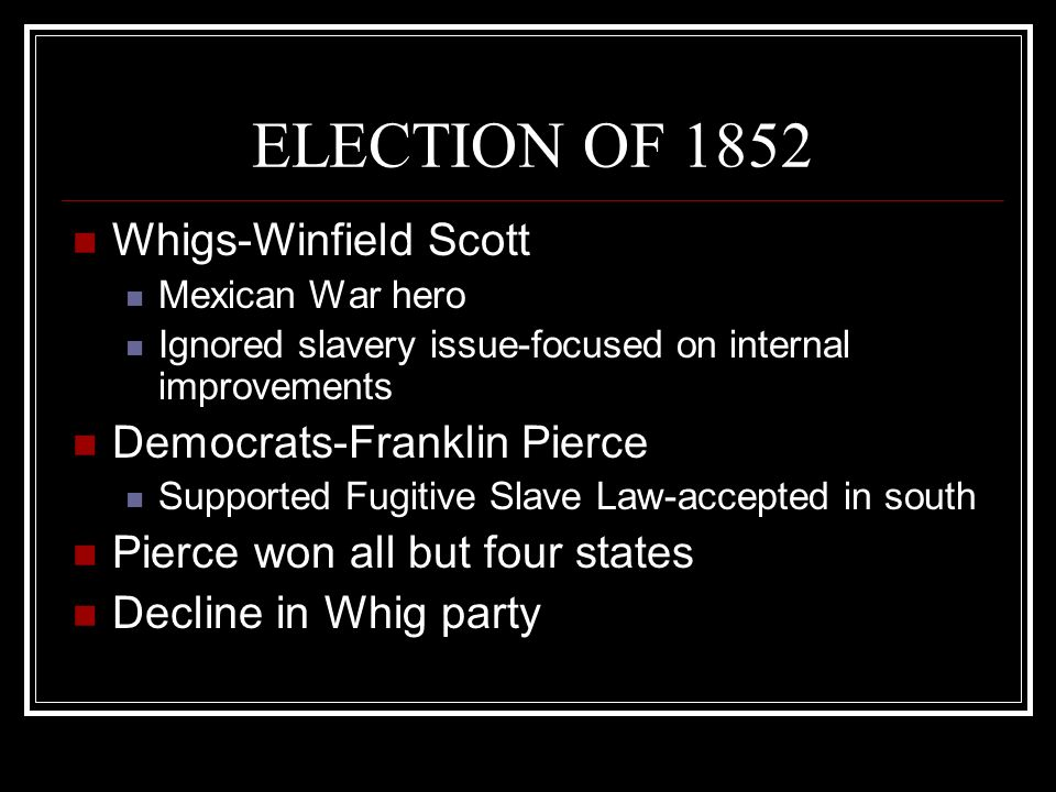 ELECTION OF 1852 Whigs-Winfield Scott Democrats-Franklin Pierce