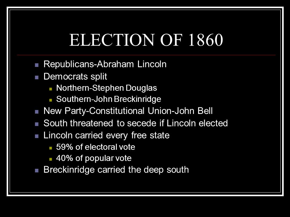ELECTION OF 1860 Republicans-Abraham Lincoln Democrats split