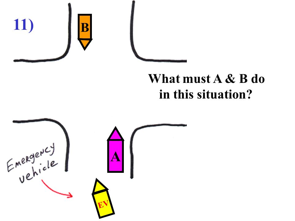 11) B What must A & B do in this situation A EV