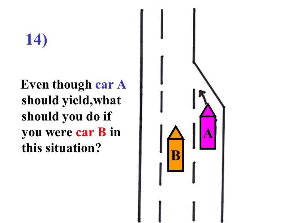 14) Even though car A should yield,what should you do if you were car B in this situation A B