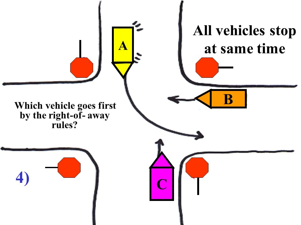 All vehicles stop at same time