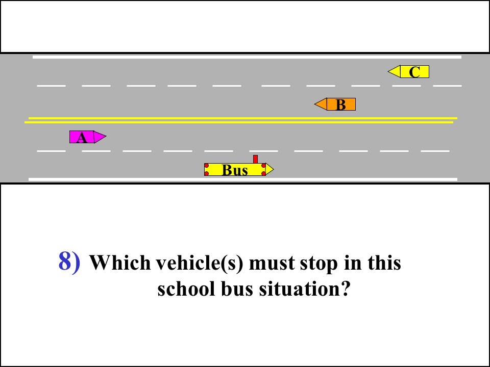 Which vehicle(s) must stop in this school bus situation
