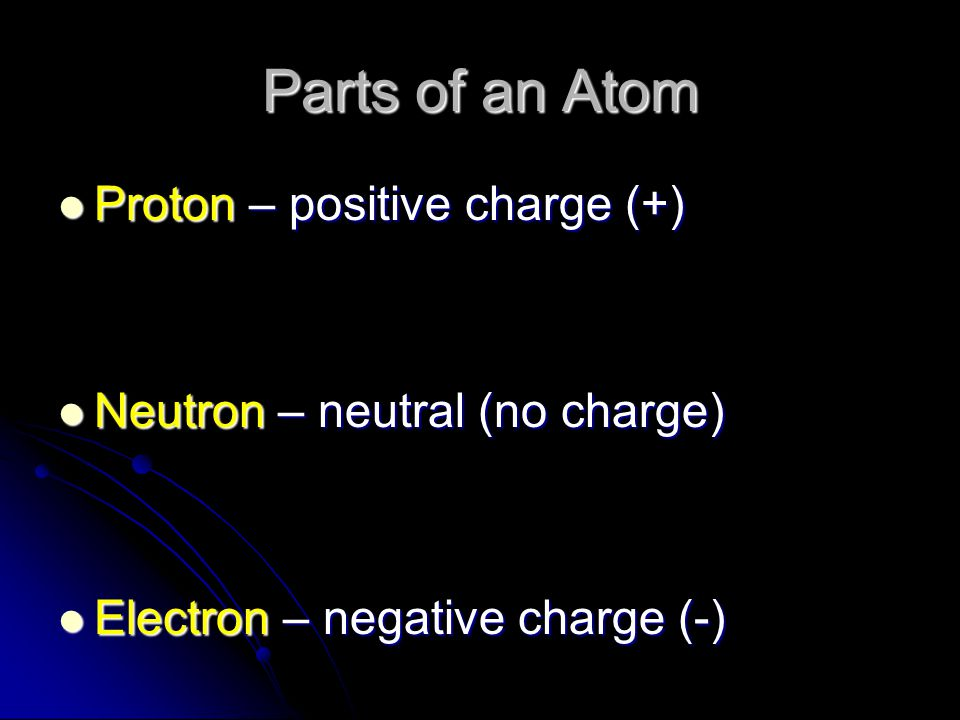 Parts of an Atom Proton – positive charge (+)