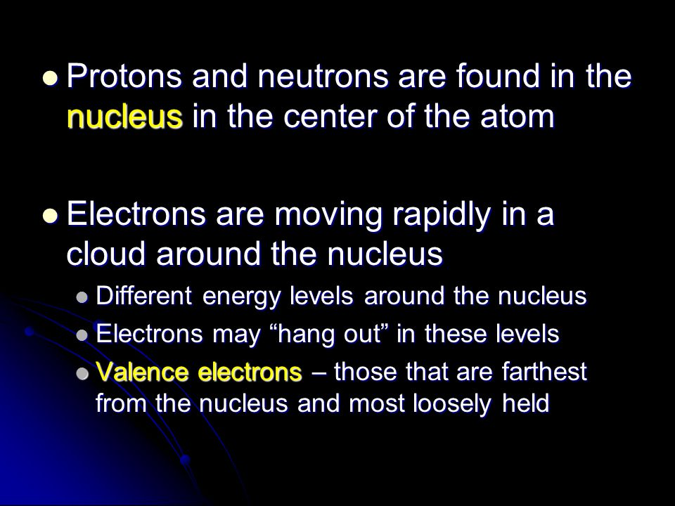 Electrons are moving rapidly in a cloud around the nucleus