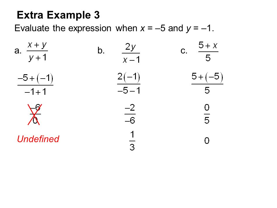 Extra Example 3 Evaluate the expression when x = –5 and y = –1.