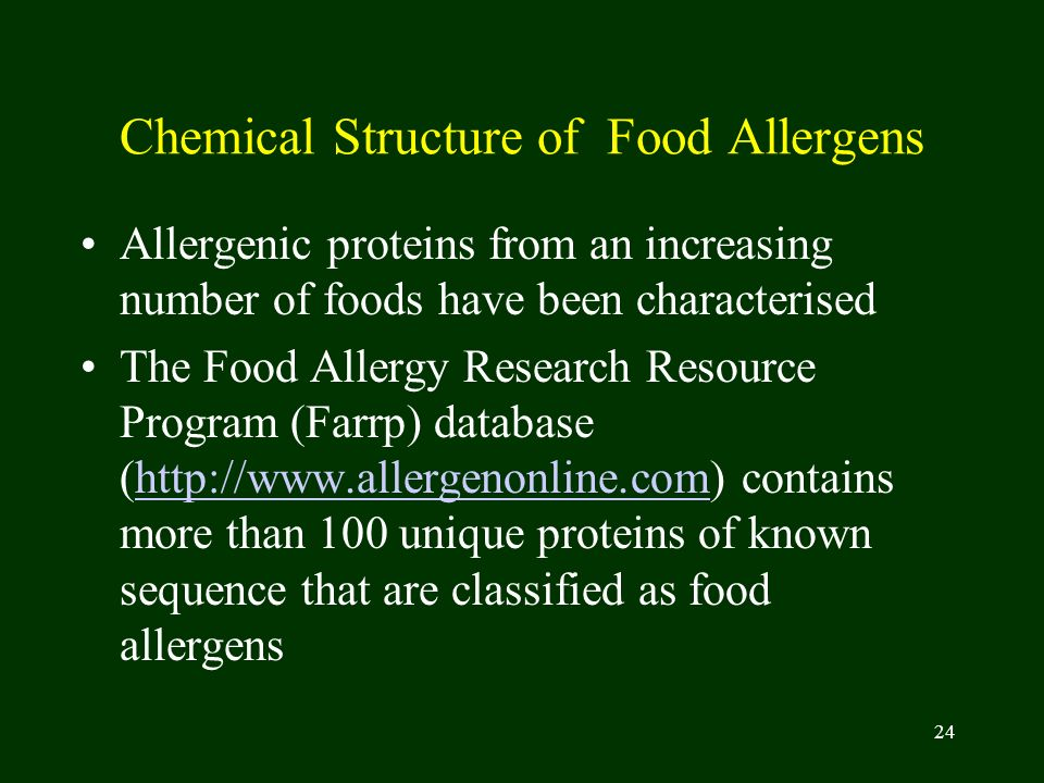 Chemical Structure of Food Allergens