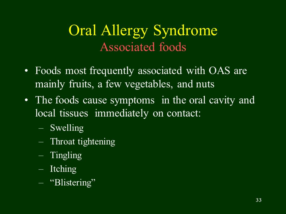 Oral Allergy Syndrome Associated foods