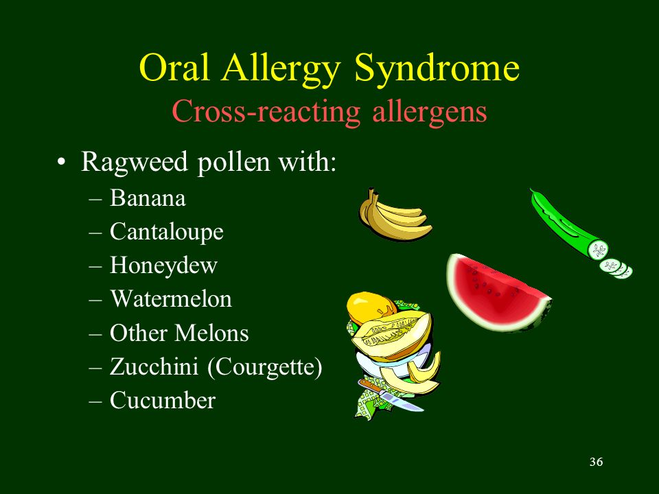 Oral Allergy Syndrome Cross-reacting allergens