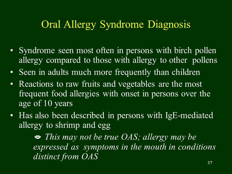 Oral Allergy Syndrome Diagnosis