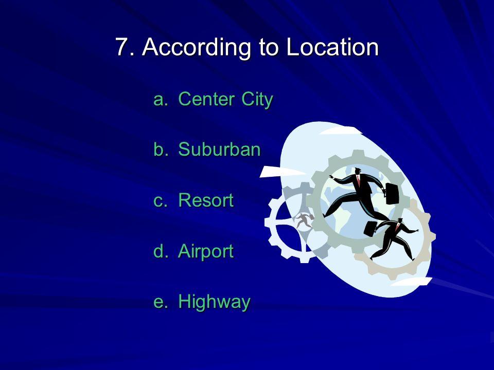 7. According to Location Center City Suburban Resort Airport Highway