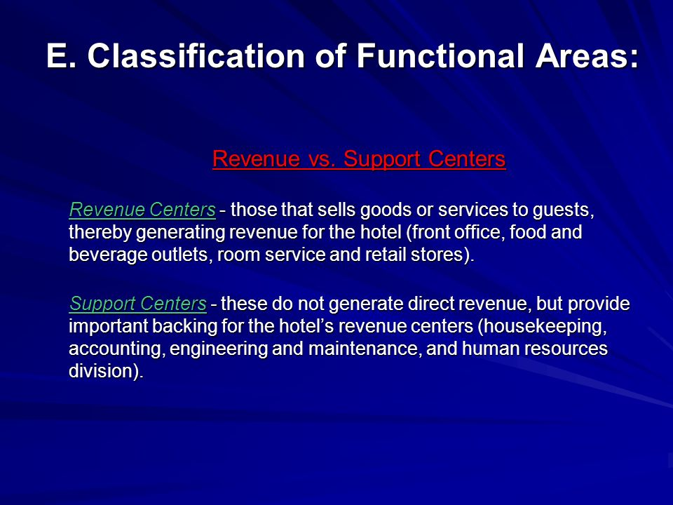 E. Classification of Functional Areas: