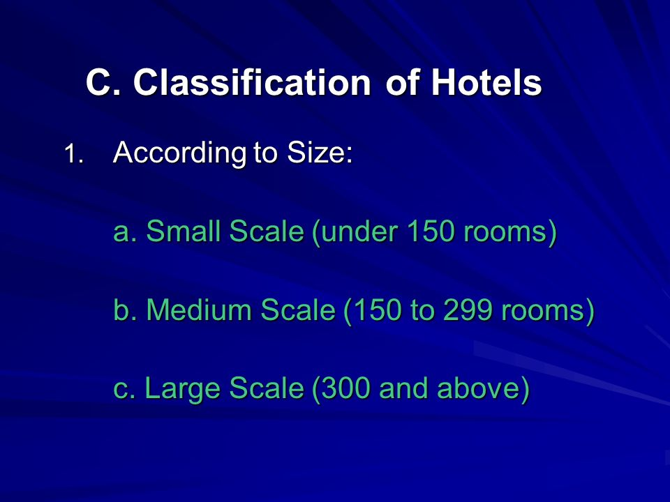 C. Classification of Hotels