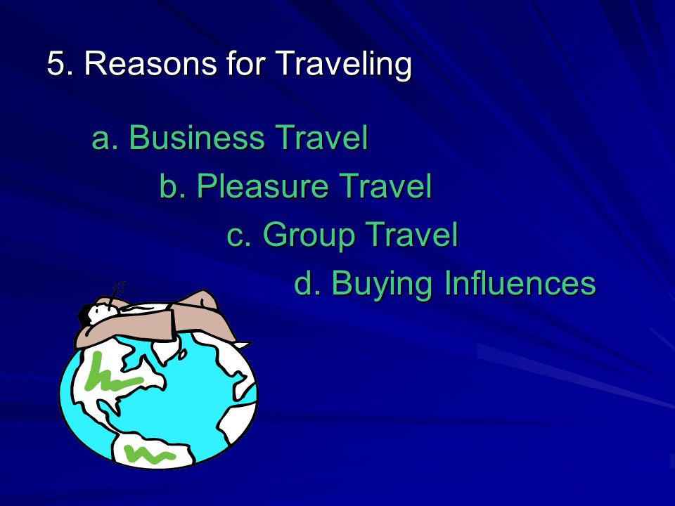 5. Reasons for Traveling a. Business Travel b. Pleasure Travel c. Group Travel d. Buying Influences