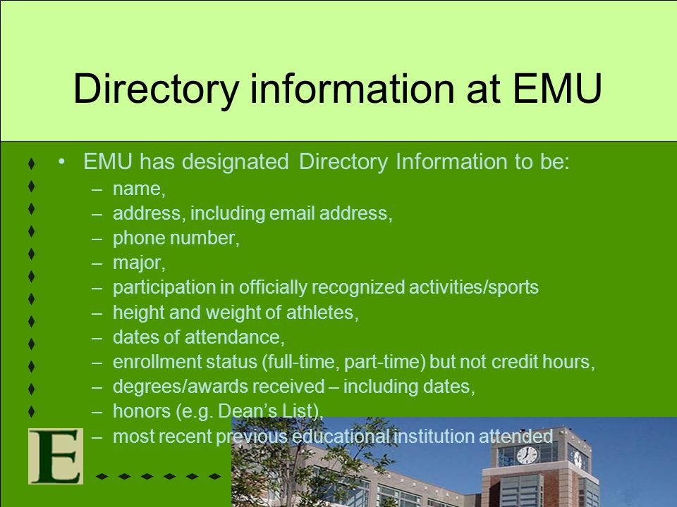 Directory information at EMU