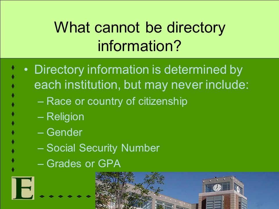 What cannot be directory information
