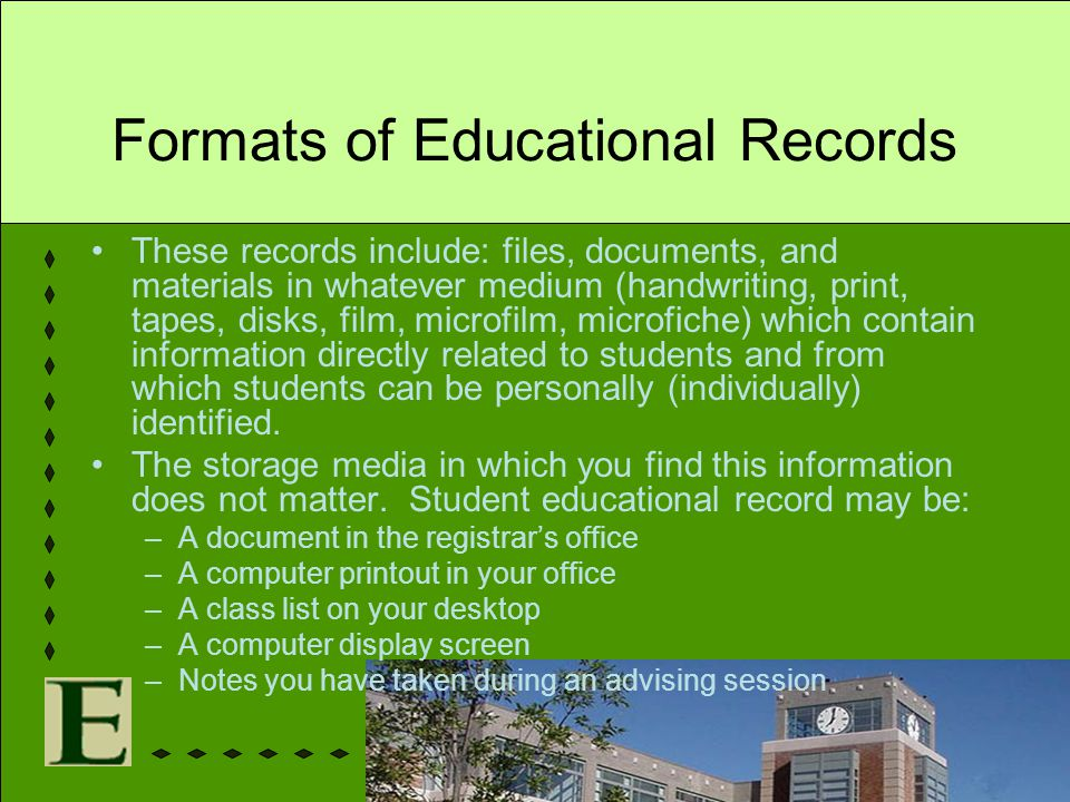 Formats of Educational Records