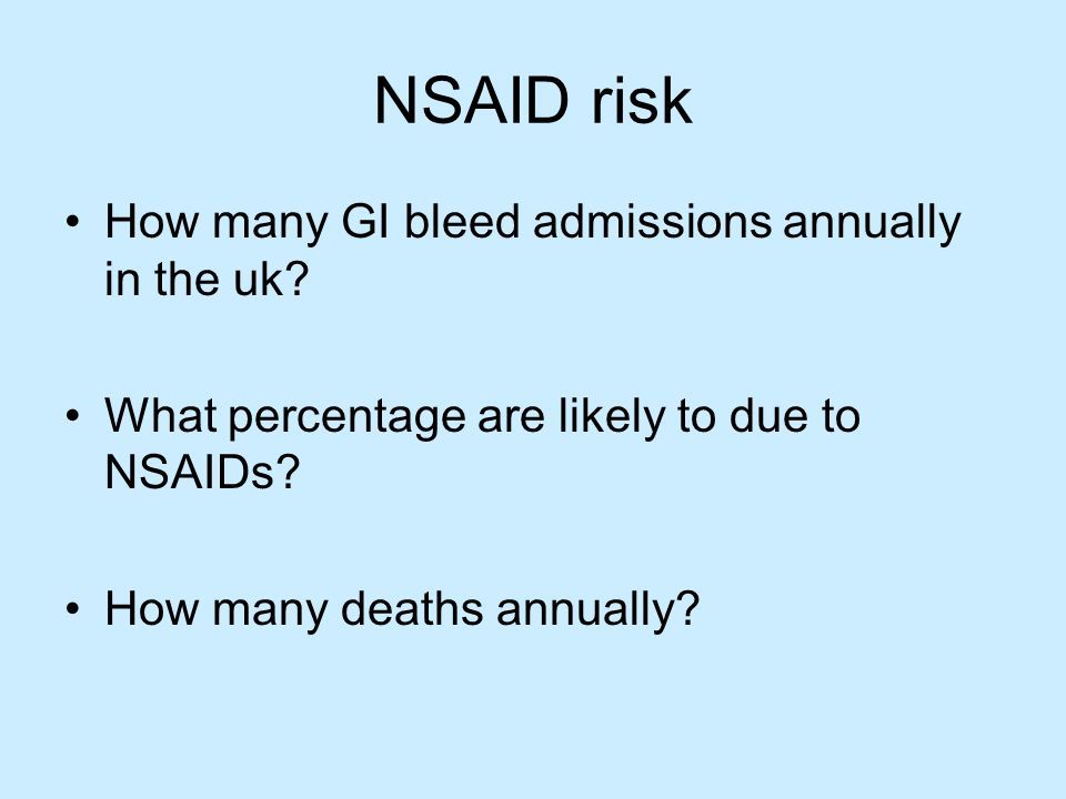 NSAID risk How many GI bleed admissions annually in the uk