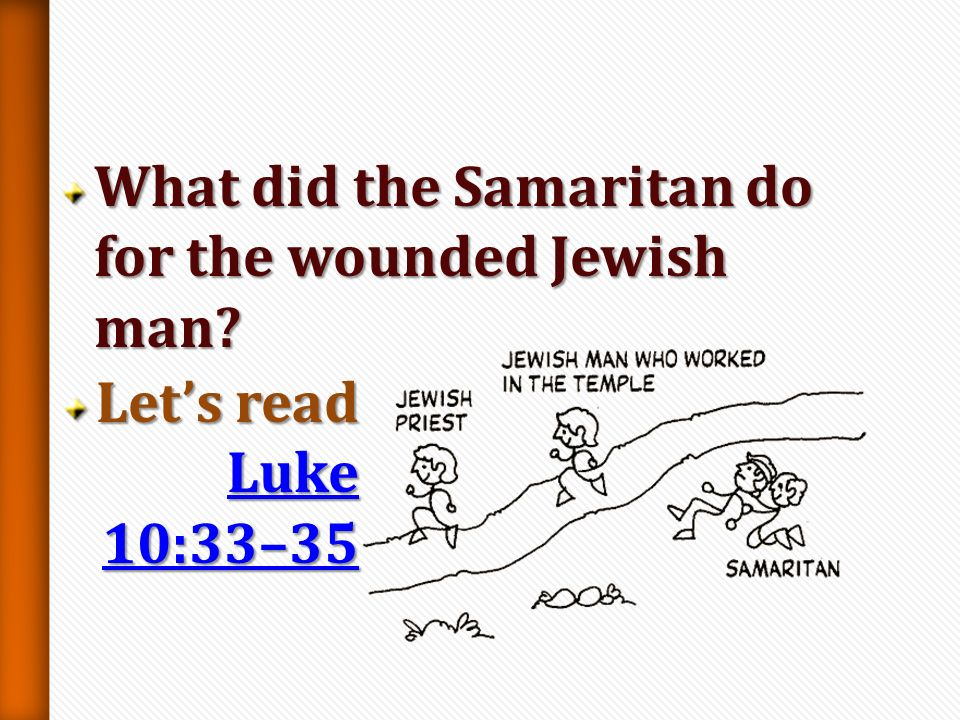 What did the Samaritan do for the wounded Jewish man