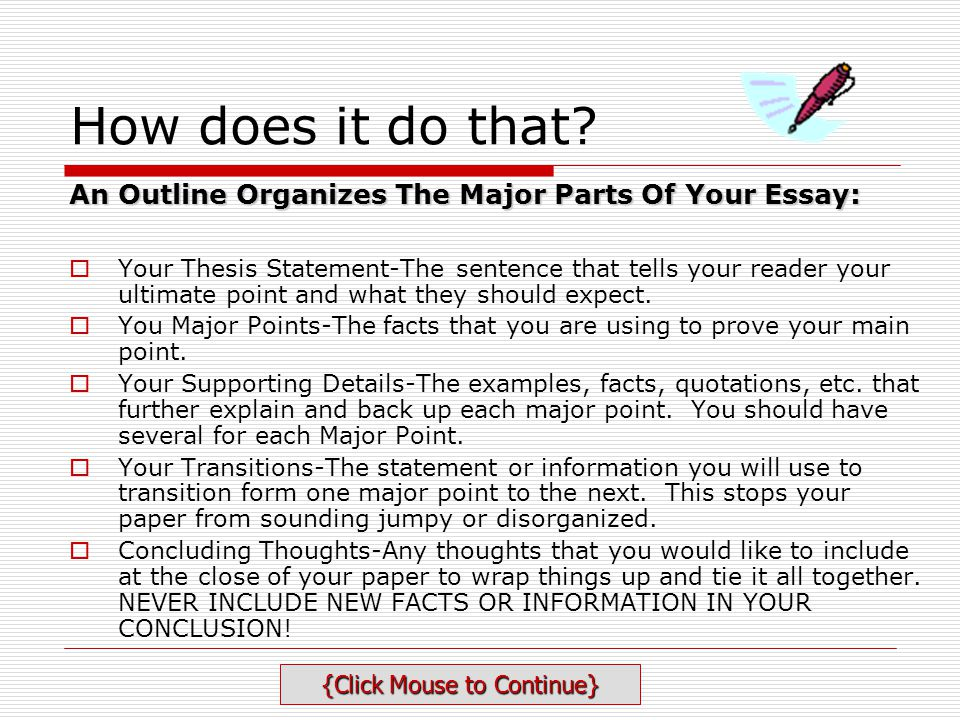Writing An Essay Outline - ppt video online download