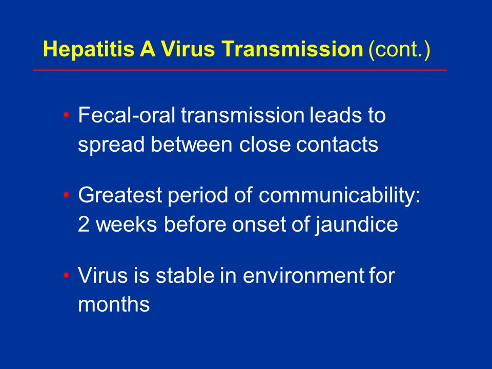 Hepatitis A Virus Transmission (cont.)