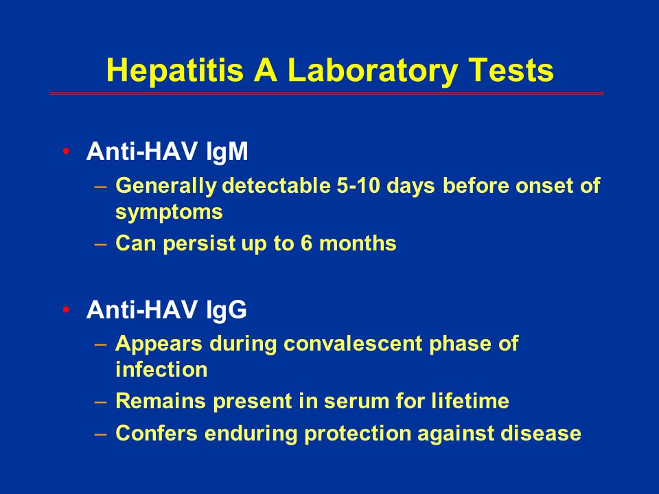 Hepatitis A Laboratory Tests
