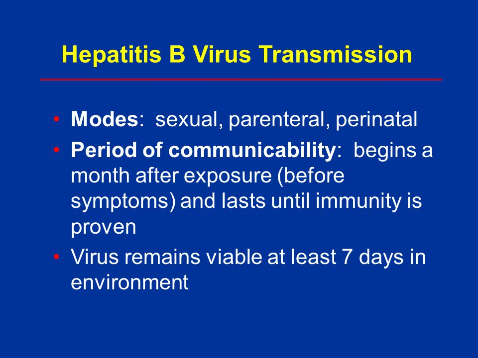 Hepatitis B Virus Transmission