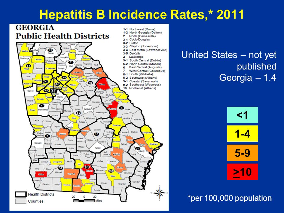 Hepatitis B Incidence Rates,* 2011