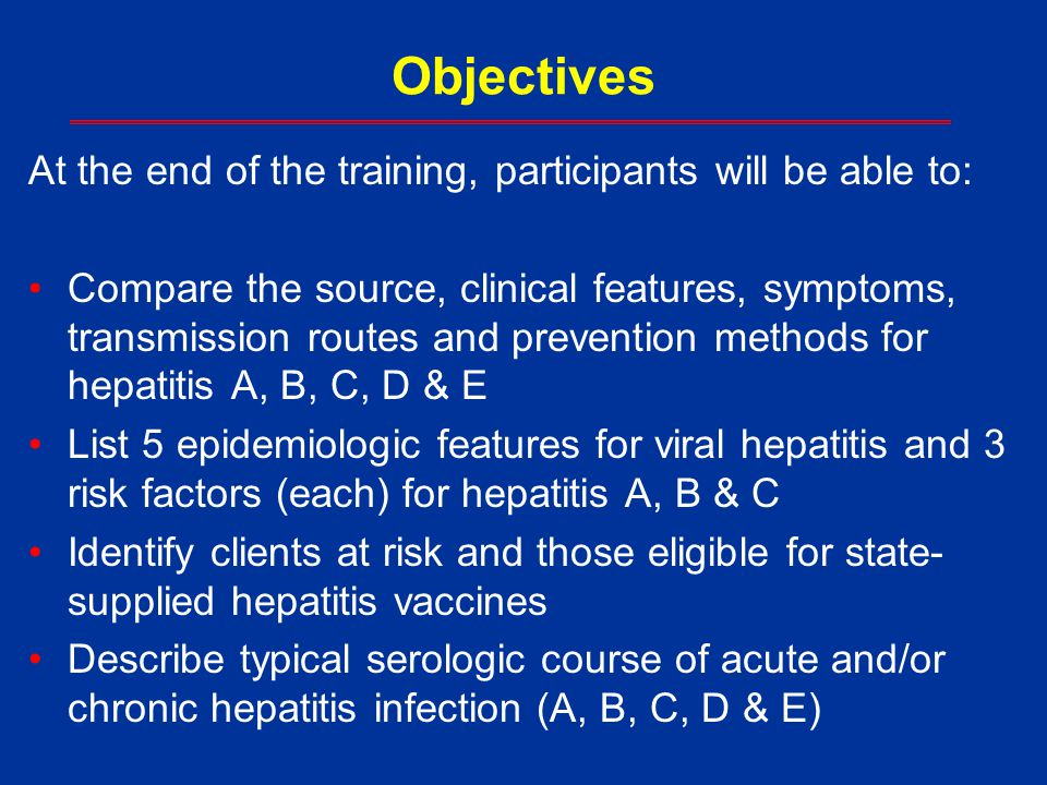 Objectives At the end of the training, participants will be able to: