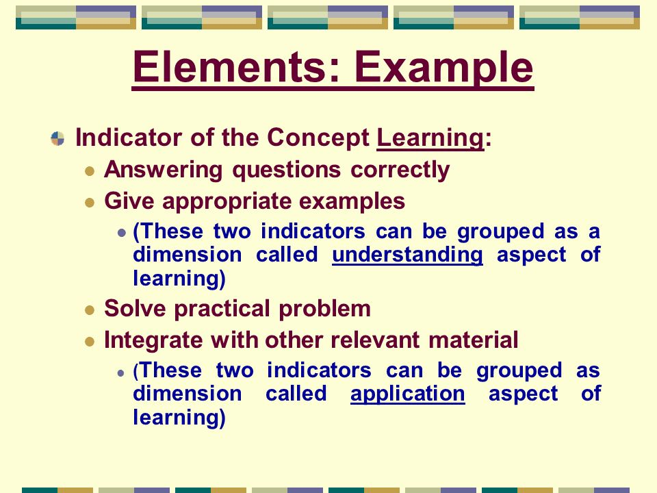 Elements: Example Indicator of the Concept Learning:
